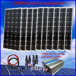 1000 Watt Grid-Tie Complete Kit 10 x 100W Solar Panel & Power Inverter for Home