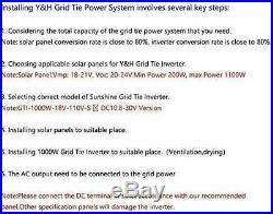 1000W Grid Tie Inverter Stackable DC10.8-30V to AC110V Pure Sine Wave Inverter