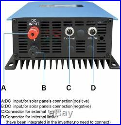 1000W Grid Tie Inverter Stackable with Power Limiter DC26-60V, AC110V/220V Auto