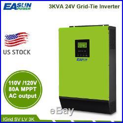 110V 3KVA Grid Tie Inverter 2400W 24V Solar Inverter MPPT Hybrid Inverters 40A