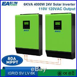110V Grid Tie Solar Inverter 6K 24V Inverter 4800W MPPT Inverter Pure Sine Wave
