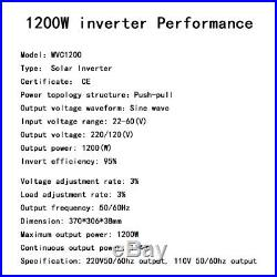 1200W MPPT Micro Grid Tie Solar Power Inverter DC22-50V To AC120/230V Waterproof