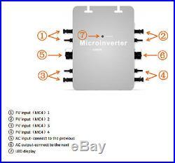 1200W MPPT Solar Micro Grid Tie Inverter IP65 DC 10.5-50V AC180-260V 50/60Hz