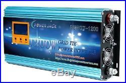 1200W WATTSOLAR GRID TIE POWER INVERTER DC 14-24V TO AC110V, MPPT, ON GRID