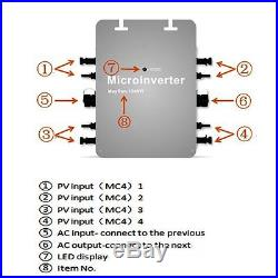 1200W grid tie micro inverter, mppt pure sine wave DC 22-50V IP65 free ship