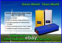 2000W WIFI Grid Tie Inverter 3phase AC Wind Turbines MPPT Pure Sine Wave Dump