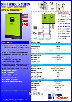 2020 Special! Hybrid PIP LV2424 2400W 25V 120V/240V Inverter Split Phase capble