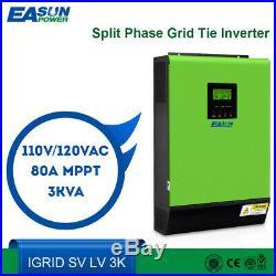 2400W 3KVA Hybrid Inverter 24V 110VAC Grid Tie Solar Inverter 80A MPPT Charger