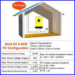 3000W Grid Tied Inverter 48V 220V Hybrid Solar inverter 450Vdc PV Input 60A MPPT