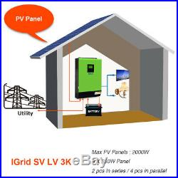 3KW Grid Tie Inverter 2400W 24V 110120V 80A MPPT Charger Hybrid Solar Inverter