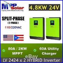 4800w 24v Split phase solar inverter charger 110/220vac 80A MPPT solar charger