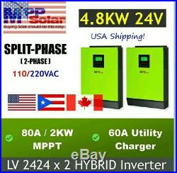 5 In 1 Hybrid 2 x 2400W 24V 120V Solar Inverter Split Phase, incl parrallel kit