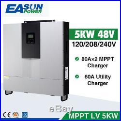 5000W 48Vdc 120V/208V/240Vac Split Phase Solar Inverter 80A Dual MPPT Charger