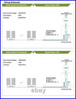 600W Waterproof Solar Microinverter DC18-50V Grid Tie Inverter with 2.4G Wireles