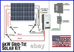 6kw Grid-Tie Solar Kit American Made Solar Panels 6000W 36 Panels + Inverter