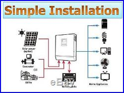 Canadian Stock Ac120v Solar Inverter 2000va 60a Mppt Charger 48vdc Battery Bank