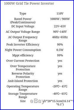 ECO 1000w Sun Series Grid Tie Power Inverter Sun-1000G2 & Limiter 2nd Generation