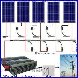 ECO 500W 5PCS 100W Poly Solar Panel System + 500W 12-110V Grid Tie Inverter RV