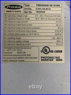 Fronius IG 5100 Solar Grid-Tie Inverter 240v
