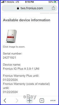 Fronius IG Plus 3.8 Advanced Grid Tie Solar Inverter