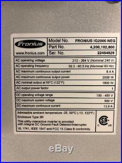 Fronius IG2000 2KW Grid Tie Solar Inverter New In The Box Warranty 2000 Watts
