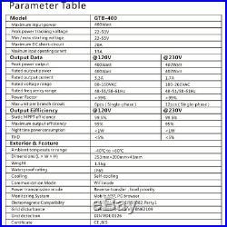 GTB-400W 120V/230V MPPT Solar Grid Tie Micro Inverter Converter Waterproof Line