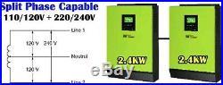 LV2424 Hybrid 2 x 2400W 24V 120V Solar Inverter Split Phase, incl parrallel kit