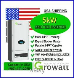 NEW 5kW 5000w 2020 Grid-Tie Growatt STRING INVERTER + WiFi + FREE SHIPPING