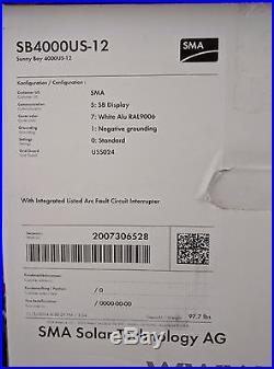 NEW! SMA Sunny Boy 4000w Grid-tie Inverter SB4000US-12 warranty & DC Disconect