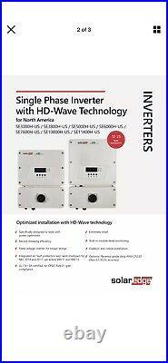New SolarEdge HD-Wave Single Phase Grid Tied Solar Inverter SE3000H-US000NNU2