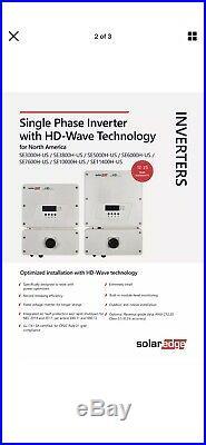 New SolarEdge HD-Wave Single Phase Grid Tied Solar Inverter SE5000H-US000NNU2