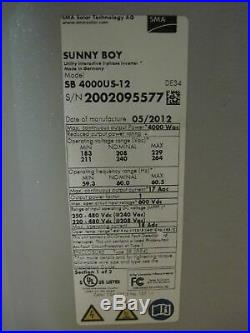 SMA SB400US-12 Sunny Boy Grid Inverter 4000w 208/240Vac
