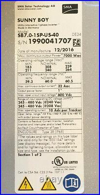 SMA SB7.0-1 SP-US-40 Sunny Boy Solar Inverter 7kW Grid Tied 208/240VAC