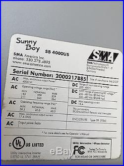 SMA Sunny Boy 4000w Solar Grid-tie Inverter SB4000US With DC Disconect