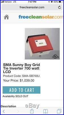 SMA Sunny Boy SB700U Solar PV Grid Tie Inverter 700 watt LCD 120VAC WORKING 700U