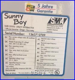 SMA Sunny Boy SWR-2500U 240v Grid Tie Inverter Solar Power On Grid Parts Only