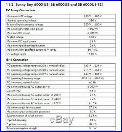 SMA Technologie AG Sunny Boy SB6000US 6000W Grid Tie Solar Inverter