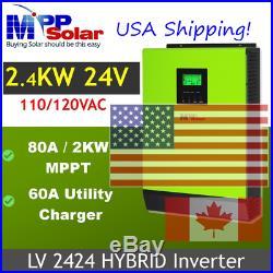 Shps 15 Jun. Hybrid PIP LV2424 2400W 24V 120V/240V Inverter Split Phase(2 needed)