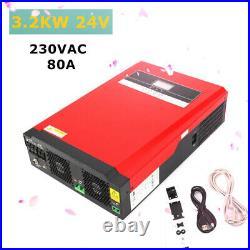 Solar Inverter 3.2Kw 24V Dc To 230Vac Hybrid Inverter Pure Sine Wave MPPT 80A
