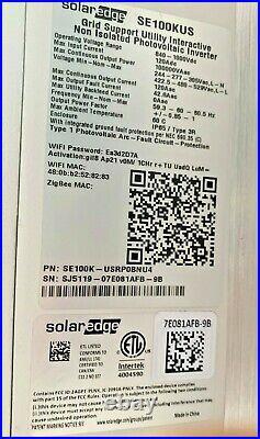 SolarEdge SE100KUS Grid Tied Inverter, Primary Inverter 100 KW 3 phase Free Ship