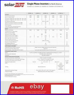 SolarEdge SE5000H-US000NNU2, 5000W Gridtie Inverter, 240V