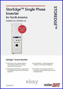 SolarEdge SE7600A-USS20NHY2 StorEdge 7.6kW 240 Volt AC Single Phase Inverter