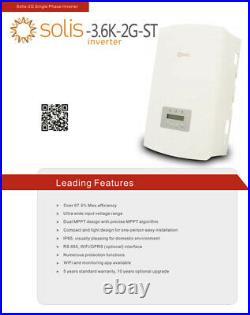 Solis / Ginlong 3.6-2G-ST 4.2KW Solar PV Inverter 4200 Watt Max Grid Tied