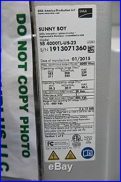 Sunny Boy SB4000TL-US-22 White SMA SB 4000TL Solar Inverter Grid tied withDCDiscon