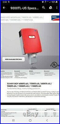 Sunny Boy Sb9000tlus 9kw 9.0 Grid tie Inverter Sma 208v